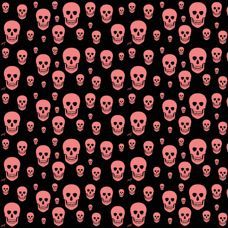 Pink skull on a black background.