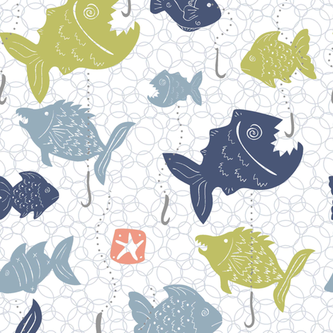 Fishing in the Fishy School - Bubbles fabric by lulakiti on Spoonflower - custom fabric