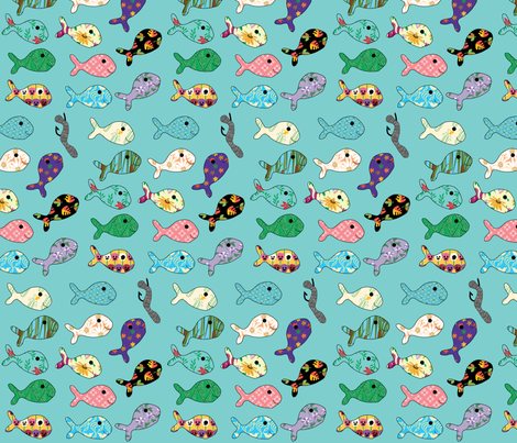 Fishing Floral Fish fabric by coveredbydesign on Spoonflower - custom fabric