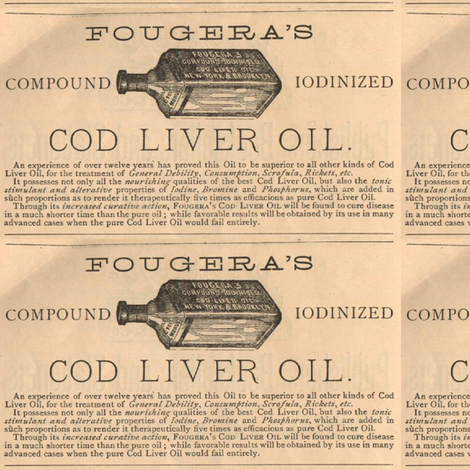 Fougera's Cod Liver Oil advertisement  fabric by edsel2084 on Spoonflower - custom fabric
