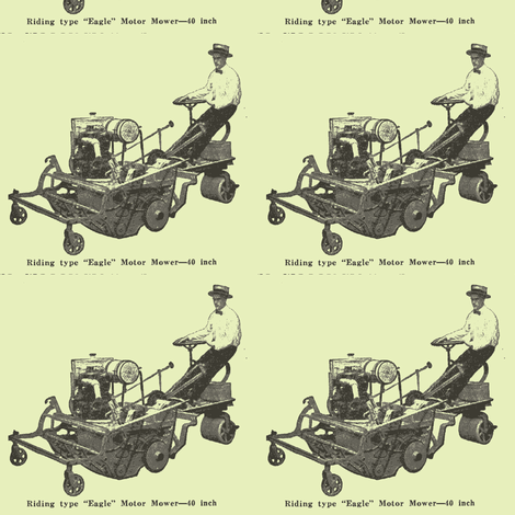 Riding Lawn Mower advertisement 100 from years ago fabric by edsel2084 on Spoonflower - custom fabric