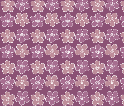 4metal_flowers_field_EGGPLANT-rose-peach-CHEVREUL-lg fabric by mina on Spoonflower - custom fabric