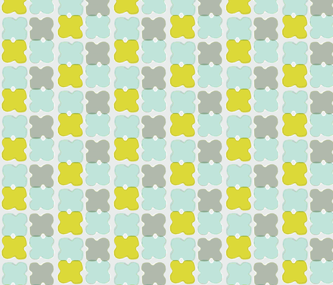 papercut with stitching light blue, grey, mustard fabric by gretchenmist on Spoonflower - custom fabric