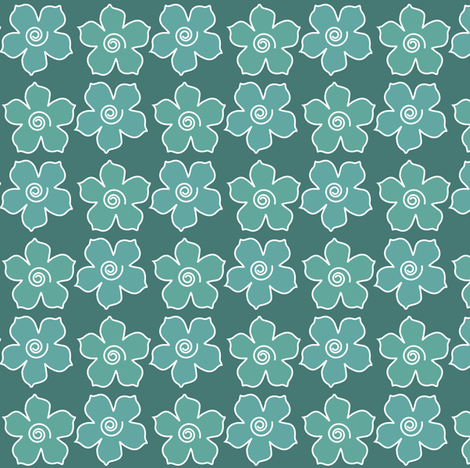 Metal_flower_field_BLUEGREENS-175 fabric by mina on Spoonflower - custom fabric