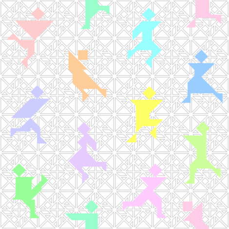 12 tangrams dancing fabric by sef on Spoonflower - custom fabric