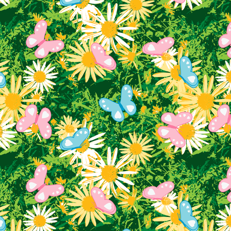Butterflies Love Wild Yellow Daisies fabric by inscribed_here on Spoonflower - custom fabric