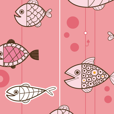 Retro Fishin' fabric by cynthiafrenette on Spoonflower - custom fabric