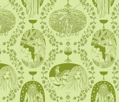 Tales of King Arthur - green fabric by uzumakijo on Spoonflower - custom fabric