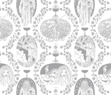 Tales of King Arthur - grey fabric by uzumakijo on Spoonflower - custom fabric
