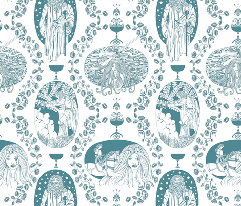 Tales of King Arthur - blue fabric by uzumakijo on Spoonflower - custom fabric