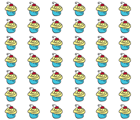 Yellow Blue Cupcake Cherry fabric by chirp! on Spoonflower - custom fabric