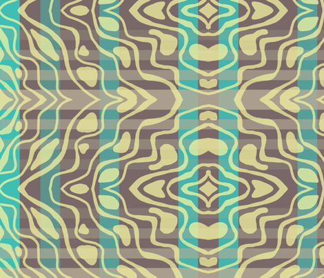Lemon dancing on aqua and putty plaid fabric by su_g on Spoonflower - custom fabric