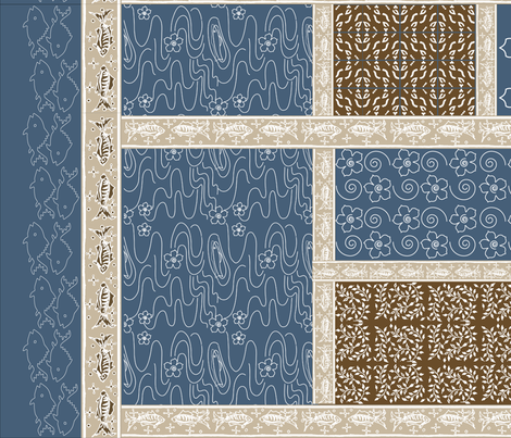 Fishing_Virtual_Batik_brown-tan-COBALT fabric by mina on Spoonflower - custom fabric