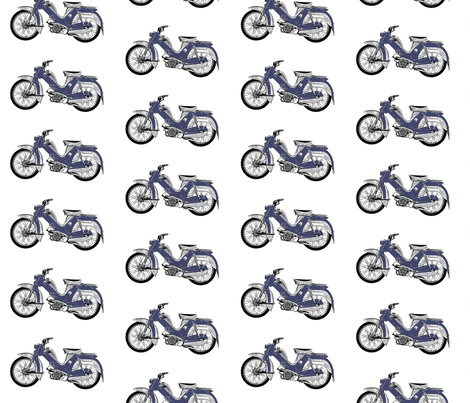 blue moped scooter Tunturi fabric by vinkeli on Spoonflower - custom fabric