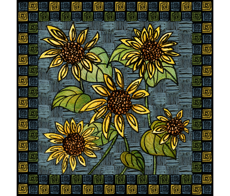 Sunflower Napkin fabric by gem_graphics on Spoonflower - custom fabric