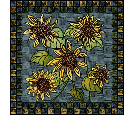 Sunflower Napkin fabric by gem_graphics on Spoonflower - custom fabric
