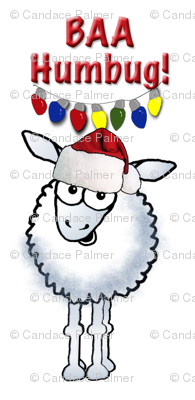 Christmas sheep wearing a Santa Hat.
