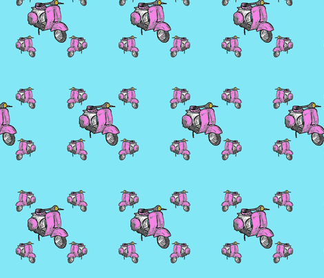pink scooter vespa fabric by vinkeli on Spoonflower - custom fabric