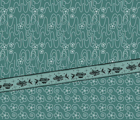 Koi_Pond_3yd_long_skirt_or_dress_gores_linen_DK-BLUEGREEN-175 fabric by mina on Spoonflower - custom fabric