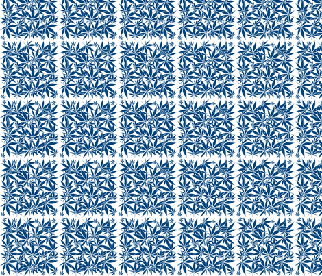 ScatteredLeaves_Cobalt_wbgFilled fabric by kstarbuck on Spoonflower - custom fabric