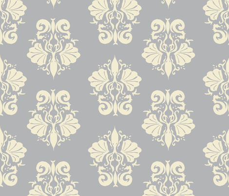 squidallion cream grey fabric by mugsy&lulu on Spoonflower - custom fabric