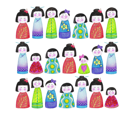 "18"" crayon kokeshi doll square for pillow or napkin fabric by scrummy on Spoonflower - custom fabric"