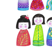 "18"" crayon kokeshi doll square for pillow or napkin"