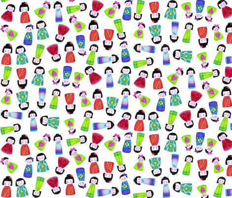 crayon kokeshi doll scatter fabric by scrummy on Spoonflower - custom fabric
