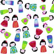 crayon kokeshi doll scatter