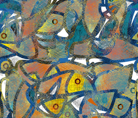 Puzzled fishes by aditi fabric by aditi on Spoonflower - custom fabric