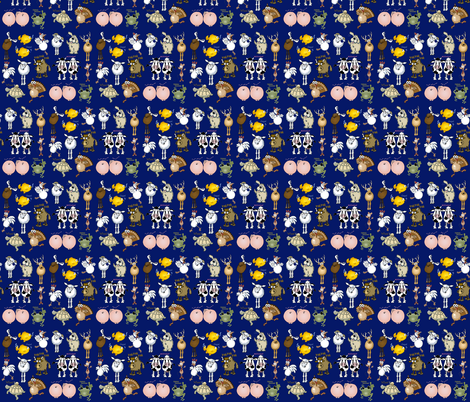 Cartoon animals on a blue background. fabric by graphicdoodles on Spoonflower - custom fabric