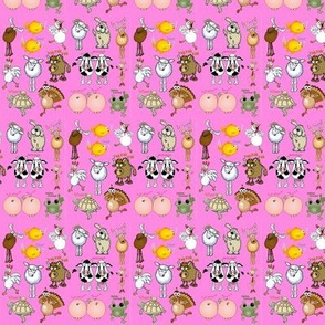 Cartoon animals on a pink background.