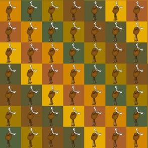 Moose on earth colored checker