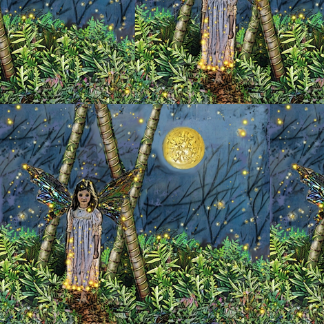 Elfling girl in the woods fabric by vinkeli on Spoonflower - custom fabric