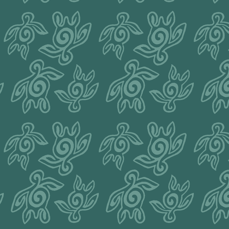 SpiritoftheSea_Turtles_double_dense_DK-BLUEGREEN175 fabric by mina on Spoonflower - custom fabric
