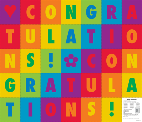 Congratulations Bunting fabric by lizarti on Spoonflower - custom fabric