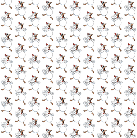 Cartoon chicken frolicking! fabric by graphicdoodles on Spoonflower - custom fabric