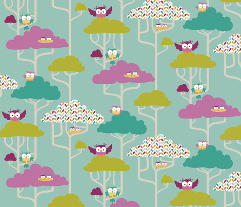 If By Air - Tree Tops, Owl fabric by ttoz on Spoonflower - custom fabric