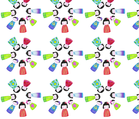 crayon kokeshi decal fabric by scrummy on Spoonflower - custom fabric