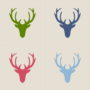 18 inch seaview simple deer heads pillow panels
