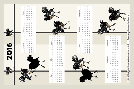 Willie Wagtail Stripe 2016 tea towel calendar by Su_G fabric by su_g on Spoonflower - custom fabric