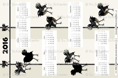 Willie Wagtail Stripe 2016 tea towel calendar by Su_G