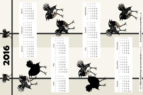 Willie Wagtail Stripe 2016 tea towel calendar by Su_G fabric by su_g on Spoonflower - custom fabric