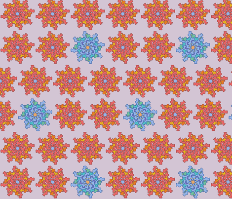 Coral and Blue Flowers fabric by david_kent_collections on Spoonflower - custom fabric
