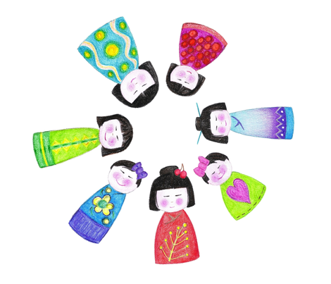 crayon kokeshi doll napkin fabric by scrummy on Spoonflower - custom fabric