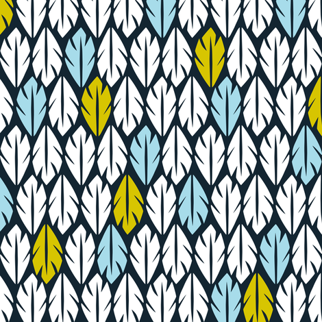 Foliar - Tropical Leaf Geometric Black Blue & Green fabric by heatherdutton on Spoonflower - custom fabric
