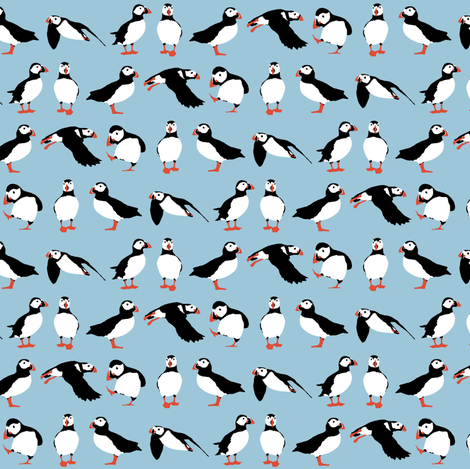 just puffins aquamarine small fabric by scrummy on Spoonflower - custom fabric