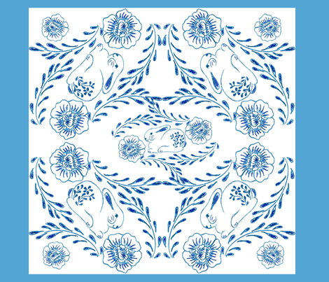 Fat Buns Delft Napkin fabric by kdl on Spoonflower - custom fabric