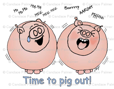 Pink cartoon pigs laughing at burping sounds.