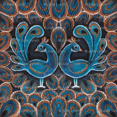 peacock pair crayon napkin